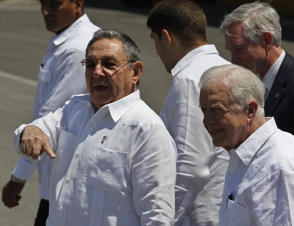 Raul Castro y James Carter.  Foto: Jorge Luis Baños