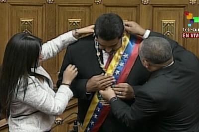 Nicolás Maduro asume la presidencia de Venezuela para el periodo 2013-2'19.  Foto:telesurtv.net
