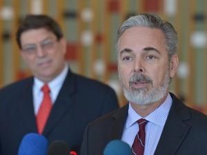 El canciller Antonio Patriota y su colega cubano, Bruno Rodríguez Parrilla (Foto: Wilson Dias/Abr)