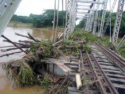 Debido a las inundaciones, el paso del tren desde la capital provincial hacia el extremo occidental del territorio está interrumpido. Foto: Ronald Suarez Rivas