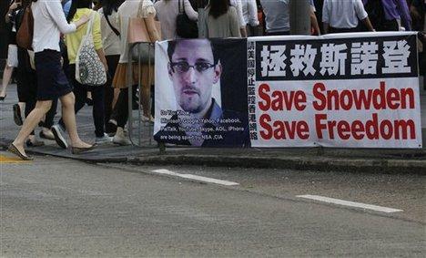 Campaign in Hong Kong en favor de Edward Snowden