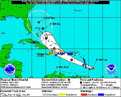 La tormenta tropical Chantal.  Gráfico: NHC