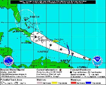 La tormenta tropical Chantal a las 2 p.m. del lunes. Gráfico: http://www.nhc.noaa.gov