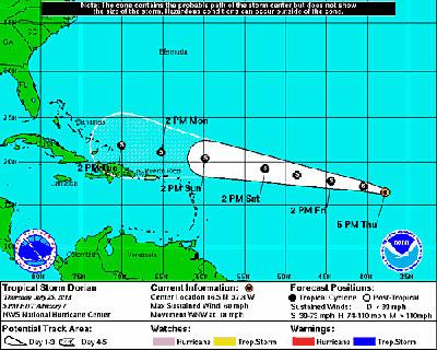 Cono de proyección para la tormenta tropical Dorian.