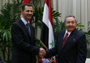 Raul Castro (d) con el Presidente de Síria Bashar al Assad durante una visita a La Habana.