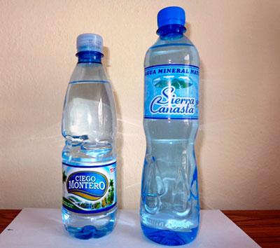 Botellas de agua Ciego Montero y Sierra Canasta.  Foto: trabajadores.cu