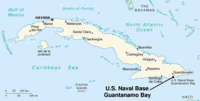 Mapa mostrando la ubicación de la Base Naval de Guantánamo.  Wikipedia.org