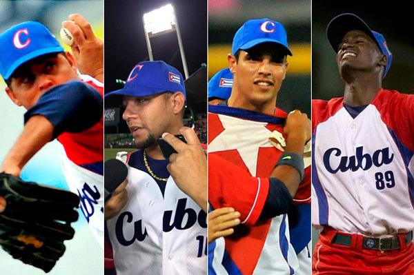 De izq. a der. Torres, Gurriel, Medoza, Moinelo, cuatro heroes por Cuba.