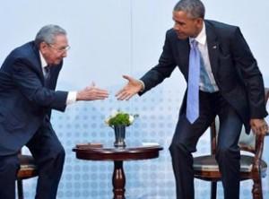 Raul Castro y  Barack Obama en  Panama.