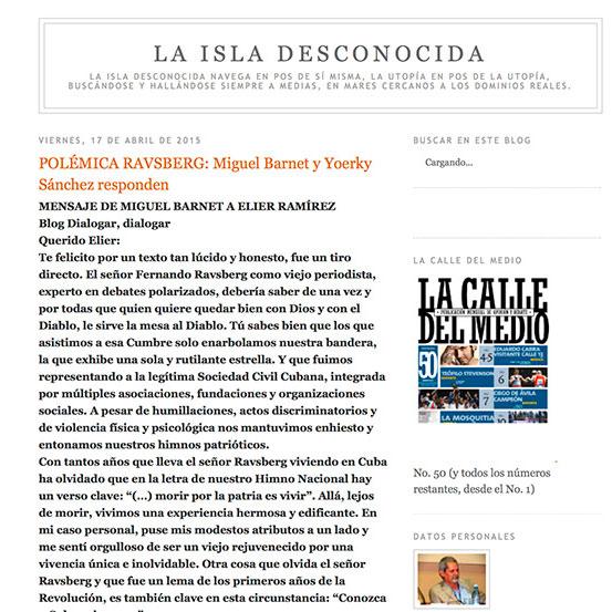 """Foto3: En el blog La Isla Desconocida se publicaron algunas de las críticas al post """"La sociedad civil y el debate""""."""
