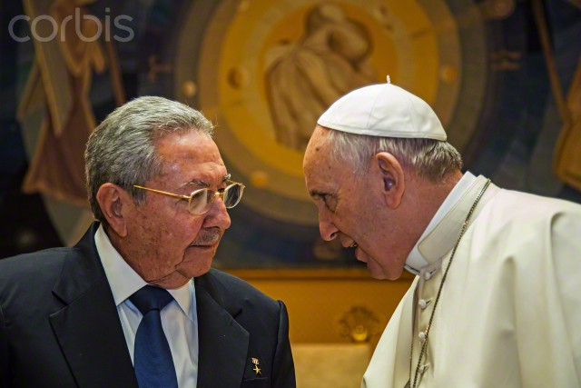 10 May 2015, Rome, Italy --- President of Cuba Raul Castro thanked Pope Francis for mediation role with US, during a private audience at the Vatican.The first South American pope played a key role in secret negotiations between the United States and Cuba that led to the surprise announcement in December that they would seek to restore diplomatic ties after more than 50 years of tensions.The Holy See has said the Argentine pope personally mediated between the two sides, and the Vatican hosted delegations from the two countries in October. Pope Francis will visit Cuba next in September.Photo by Vatican Pool. --- Image by © Vatican Pool/Corbis