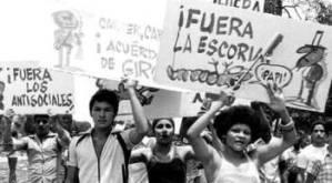 Acto de repudio a los emigrantes en los 80.