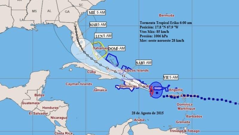 El camino pronósticado para la Tormenta Tropical Erika a las 6 am. del viernes 28 de agosto. (INSMET)