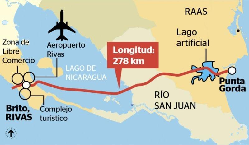 La Ruta del Canal, mapa: laprensa.com.ni