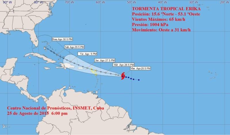 Cono de pronóstico de la tormenta tropical Erika de INSMET.