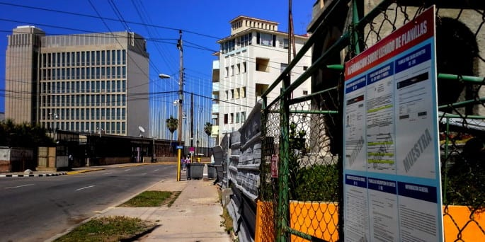 Zona de la embajada estadounidense en La Habana