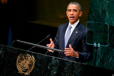 President Obama at addresses the UN General Assembly on Monday Sept. 28.