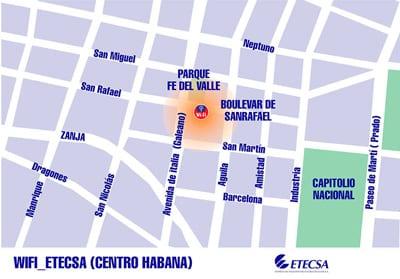 Wifi en Centro Habana. Map: http://jorgen.cubava.cu