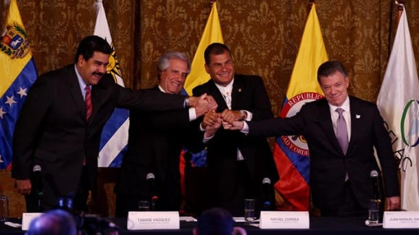 La reunion de los presidentes Nicolas Maduro (izq), Tabare Vazquez, Rafael Correa y Juan Manuel Santos.  Foto: telesurtv.net