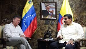 Juan Manual Santos y Nicolás Maduro.  Foto/archivo: telesurtv.net