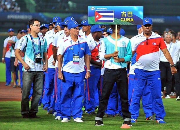 El equipo Cuba en el torneo Premier 12.