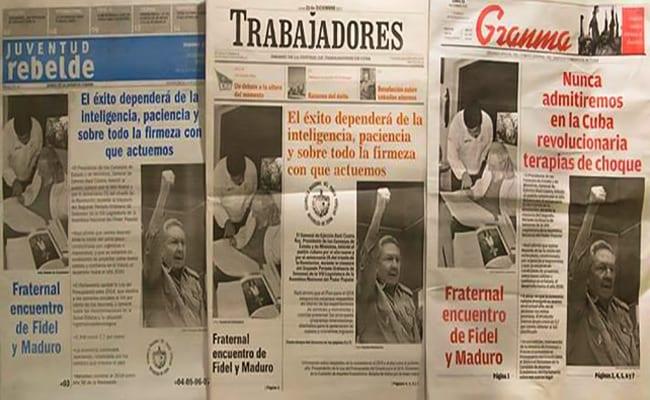 """Los medios oficiales sufren de tal """"verticalidad político-editorial"""" que han llegado a reproducir la misma portada."""