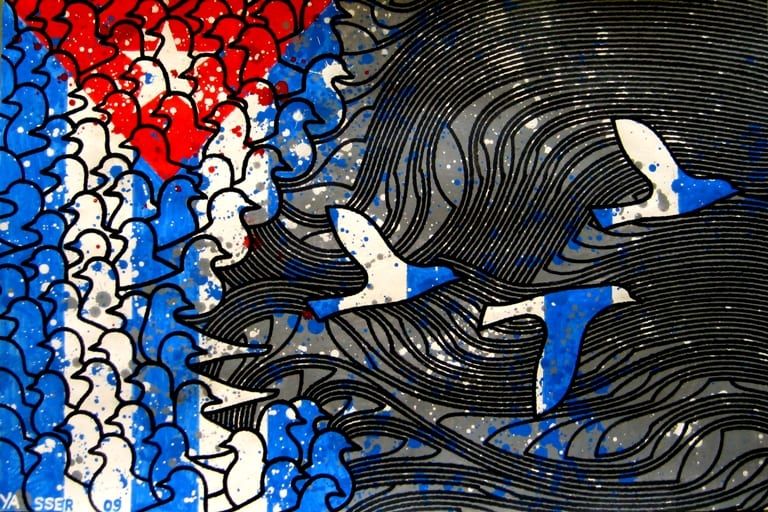 Ilustración por Yasser Castellanos de la serie Pensando en Cuba.