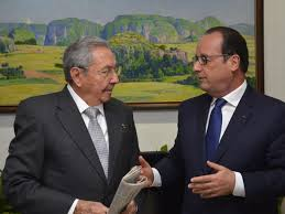 Cuando el presidente frances visitó a Cuba en Mayo, 2015.