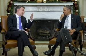 Juan Manuel Santos y Barack Obama.  Foto/archivo: voanews.com