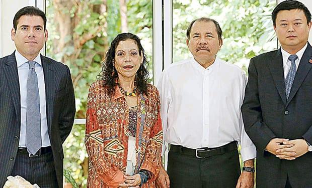 Laureano Ortega, Rosario Murillo, Daniel Ortega y Wang Jing. Foto: latercera.com