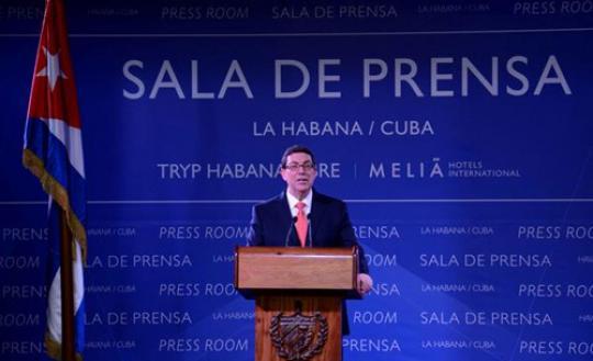 El canciller Bruno Rodríguez cuando habló de las medidas tomadas por Obama. Foto: minrex