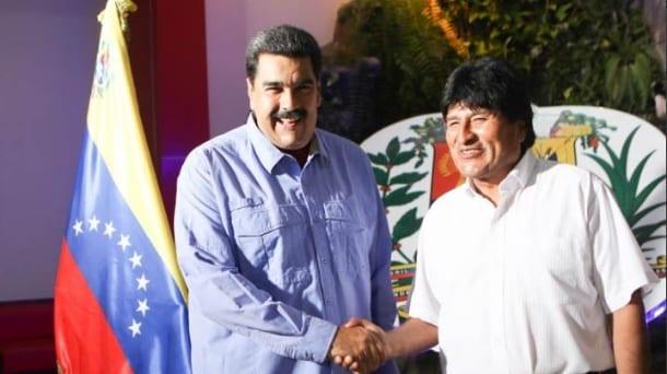 Nicolás Maduro recibe a Evo Morales. Foto: telesurtv.net