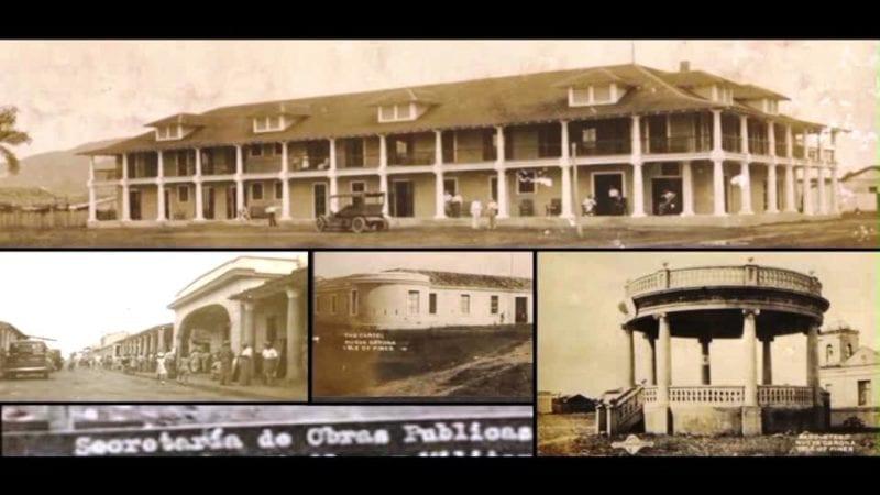 Fotos: Arriba Hotel Pearcy, desaparecido, abajo de izquierda a derecha: Calle Martí, Antiguo Cuartel de Caballería de la época española, desaparecido y Glorieta del Parque Lacret, el principal entre la Iglesia y el Ayuntamiento.