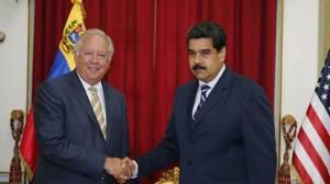 Thomas Shannon and Nicolas Maduro.  photo- telesurtv.net