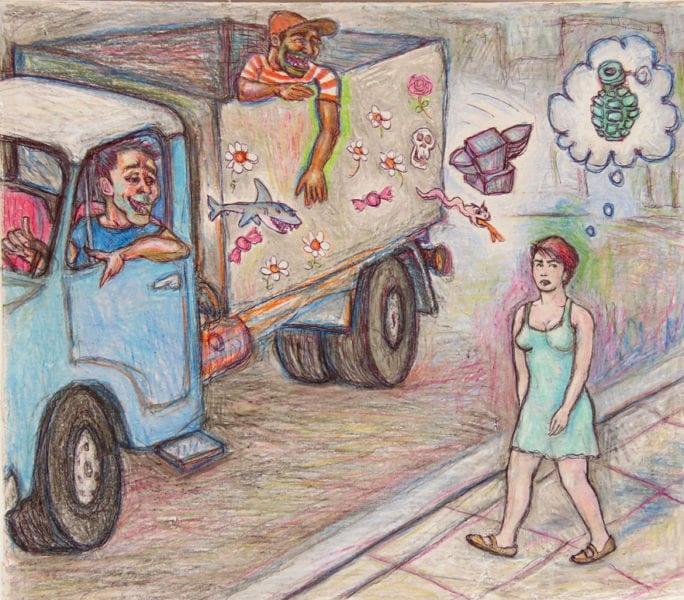 Acoso callejero. Ilustración por Carlos