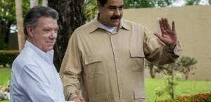 Juan Manuel Santos y Nicolás Maduro.  Foto: http://www.radiohrn.hn