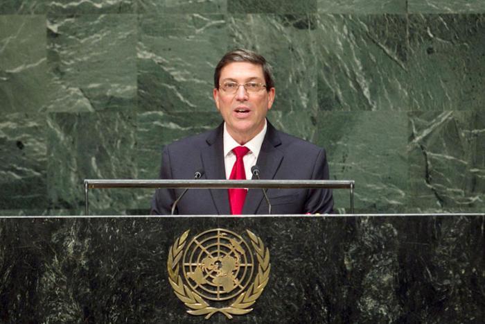 El canciller cubano Bruno Rodríguez en la ONU.