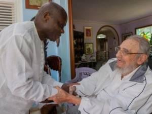 Fidel Castro con el presidente de Guinea-Bissau, José Mario Vaz.  Foto: Alex Castro/cubadebate.cu