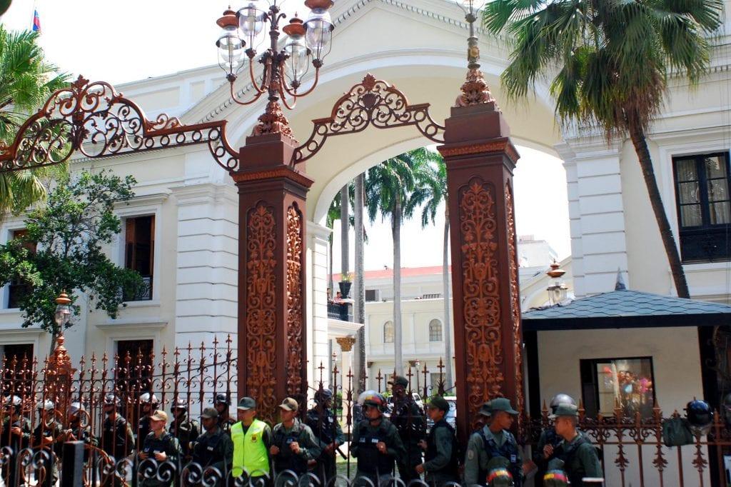 Outside the Venezuelan National Assembly on Thursday morning.