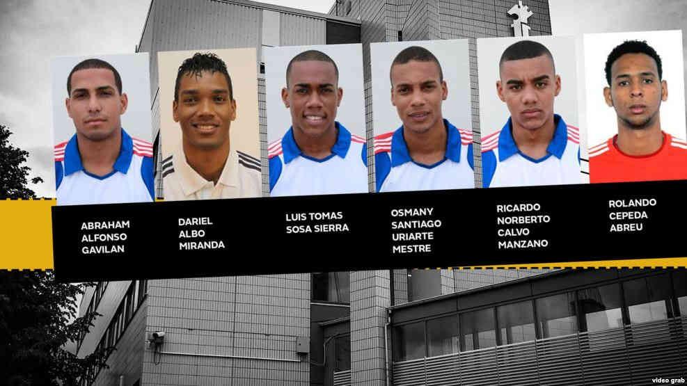 Los seis jugadores cubanos originalmente acusados.  Cinco fueron condenados y uno, Dariel Albo Miranda, fue absuelto y regresó a Cuba.  Fotos: martinoticias.com
